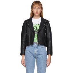 Black Leather Cropped Biker Jacket