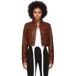 Brown Leather Fem Littler Trucker Jacket