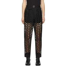 Black Double-Cloth Perforated Trousers