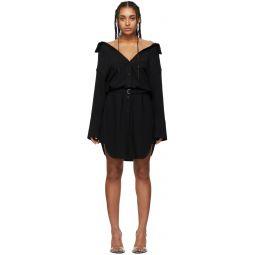 Black Shrugged Off Shirt Dress