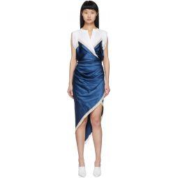 White & Blue Silk Draped Slip Dress