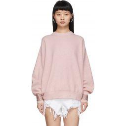 Pink Wool Crystal Cuffs Sweater