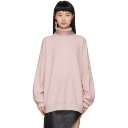 Pink Wool Crystal Collar Turtleneck