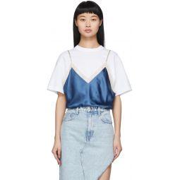 White & Blue Silk Camisole Overlay T-Shirt