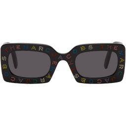 Black 'The Logo' Rectangular Sunglasses
