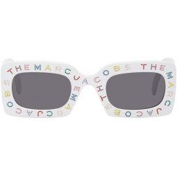 White 'The Logo' Rectangular Sunglasses