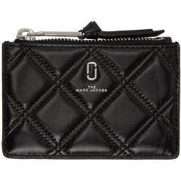 Black Quilted Softshot Top Zip Multi Wallet