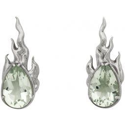 Silver & Green Amethyst Heat Earrings