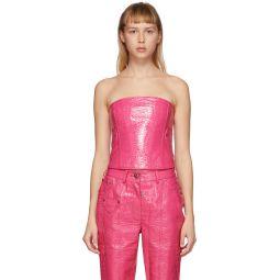 Pink Croc Faux-Leather Perez Corset Tank Top