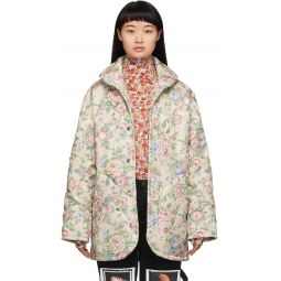 Off-White Floral Handle With Care Puffer