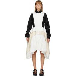 White & Off-White Cloth Apron Dress