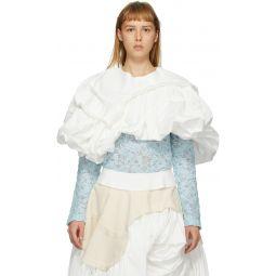 White Cloth Shoulder Piece Blouse