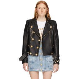 Black Leather 6-Button Biker Jacket