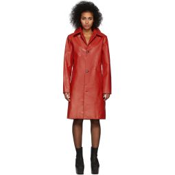 Red Leather Stroke Coat