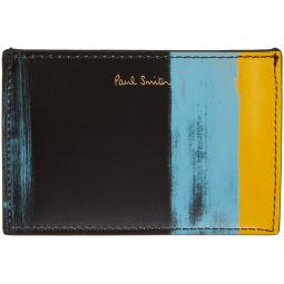 Black & Yellow Brush Stroke Card Holder