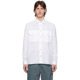 White Eyelet Military Pocket Shirt