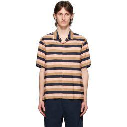 Pink & Brown Wide Striped Short Sleeve shirt