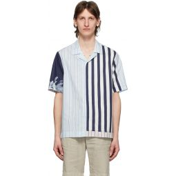 Multicolor Contrast Stripe Short Sleeve Shirt