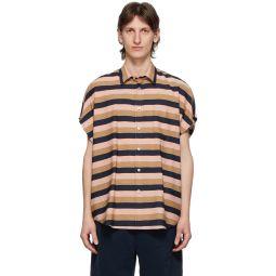 Pink & Brown Striped Short Sleeve Shirt
