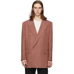 Pink Linen Longline Double-Breasted Blazer