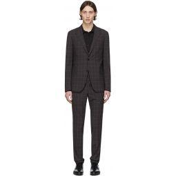 Grey & Pink Wool Plaid Suit