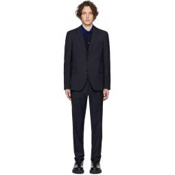 Navy Wool Houndstooth Suit