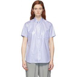 Blue & White Laminated Finish Stripe Shirt