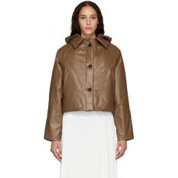 Tan Down Oil Cropped Puffer Jacket