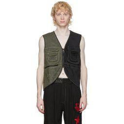 Black & Green Waxed Utility Vest