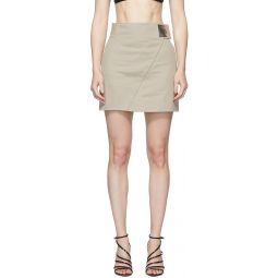 Beige High-Waisted Asymmetric Skirt