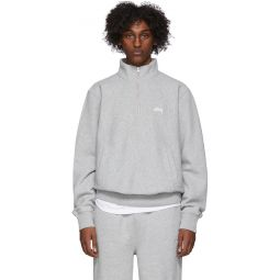 Grey Stock Logo Mock Sweatshirt