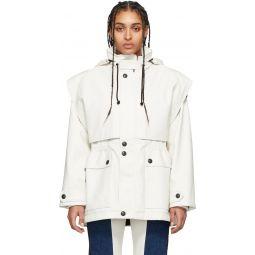 White Faux-Leather Fireman Coat