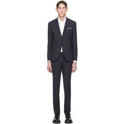 Navy & White Wool Pinstripe Suit