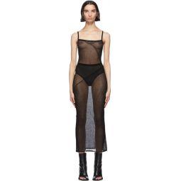 Black Sheer Foggy Knitted Slip Dress