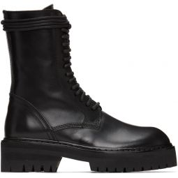 Black Lace-Up Lug Sole Boot