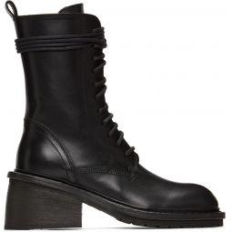 Black Chunky-Heel Combat Boots