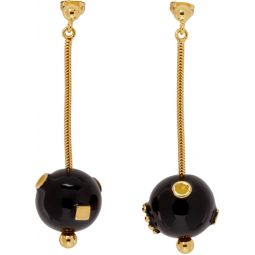 Black & Gold Pendant Earrings