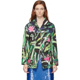 Green & Multicolor Print Jacket