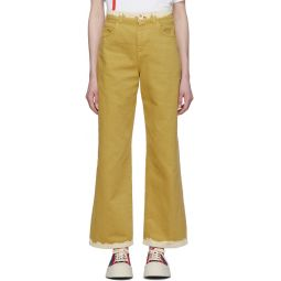 Yellow Bicolor Denim Jeans