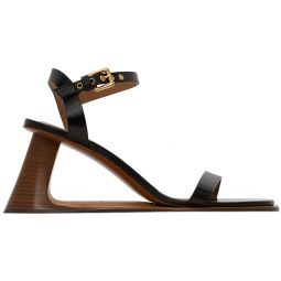 Black Open Heeled Strap Sandals