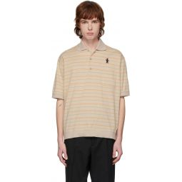 Beige Jersey Striped Polo
