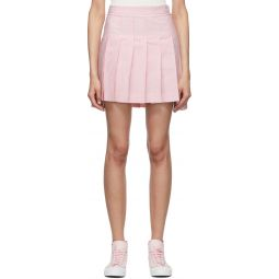 Pink & White Seersucker Pleated Miniskirt