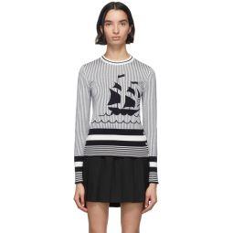 Navy & White Boat Crewneck Sweater