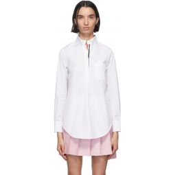White Poplin Pleat Back Shirt