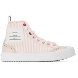 Pink & White Striped Brogued High-Top Sneakers