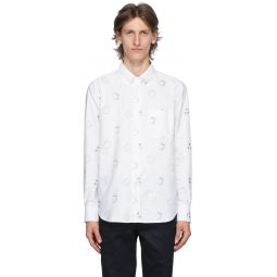 White Oxford Multi Ball Print Shirt