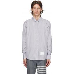 Grey Poplin Hairline Stripe Shirt