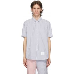 Blue Seersucker Short Sleeve Shirt