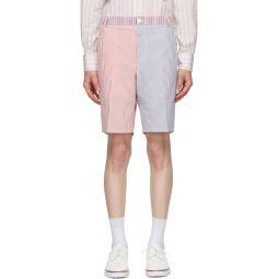 Red & Navy Seersucker Striped Unconstructed Shorts