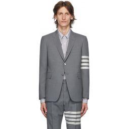 Grey Plain Weave 4-Bar Classic Sport Coat Blazer